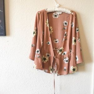Sweet Wanderer Sheer Floral Tie Wrap Top Cardigan